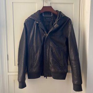 John Varvatos Star Brown Leather Jacket - L